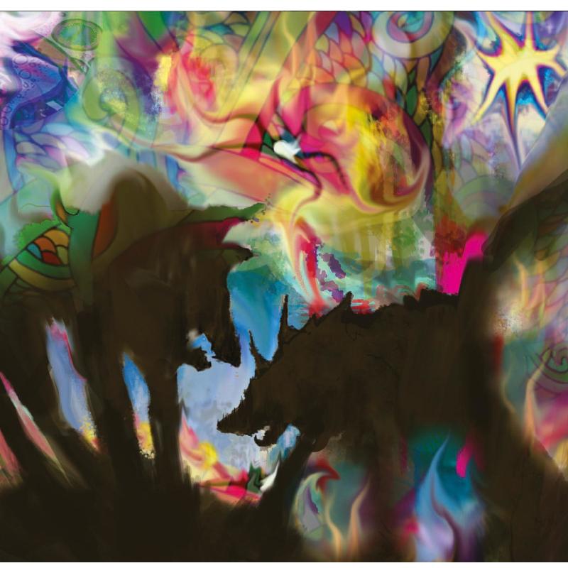 """Σχεδιασμός για το εξώφυλλο του δίσκου """" Λύκοι στην χώρα των θαυμάτων"""" του Γιάννη Αγγελάκα  και Νίκου Βελιώτη"""